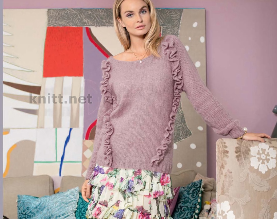 Вязаный пуловер реглан женский с рюшами