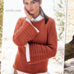 Вязаный на спицах пуловер с широкими рукавами