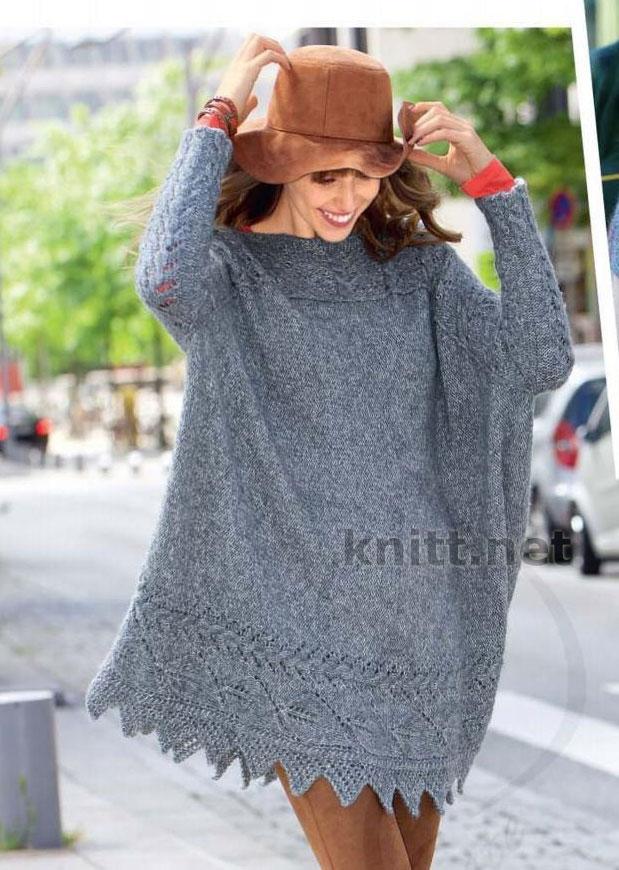Вязаный пуловер пончо с узорами