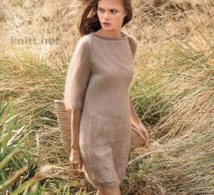 Вязаное тонкое платье с ажурной каймой