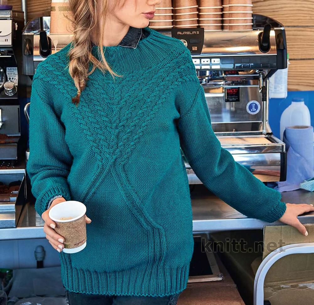 Вязаный бирюзовый пуловер спицами