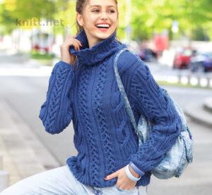 Вязаный на спицах пуловер деним