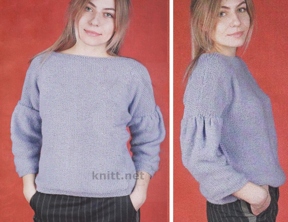 Вязаный пуловер лавандового цвета