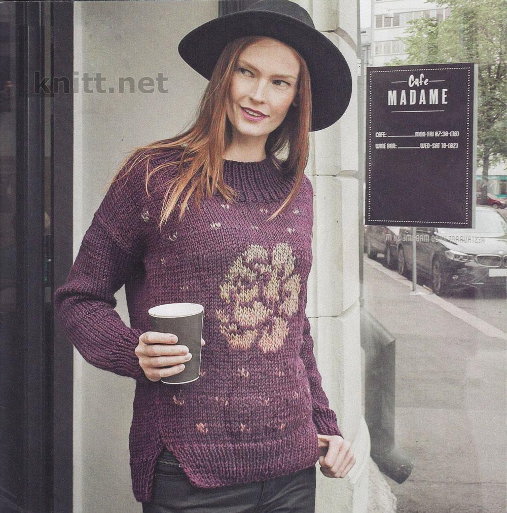Вязаный пуловер с цветочным принтом