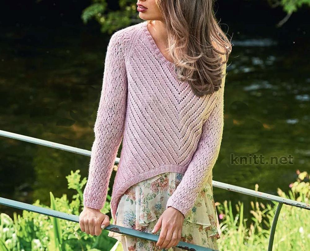 Вязаный пуловер с фигурным краем
