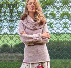 Вязаный пуловер с объемным воротником