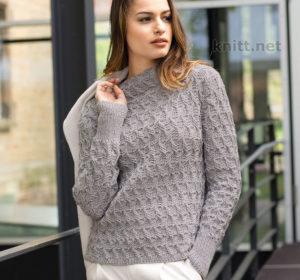 Вязаный пуловер с воротником стойкой