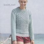Вязаный спицами бирюзовый пуловер с аранами
