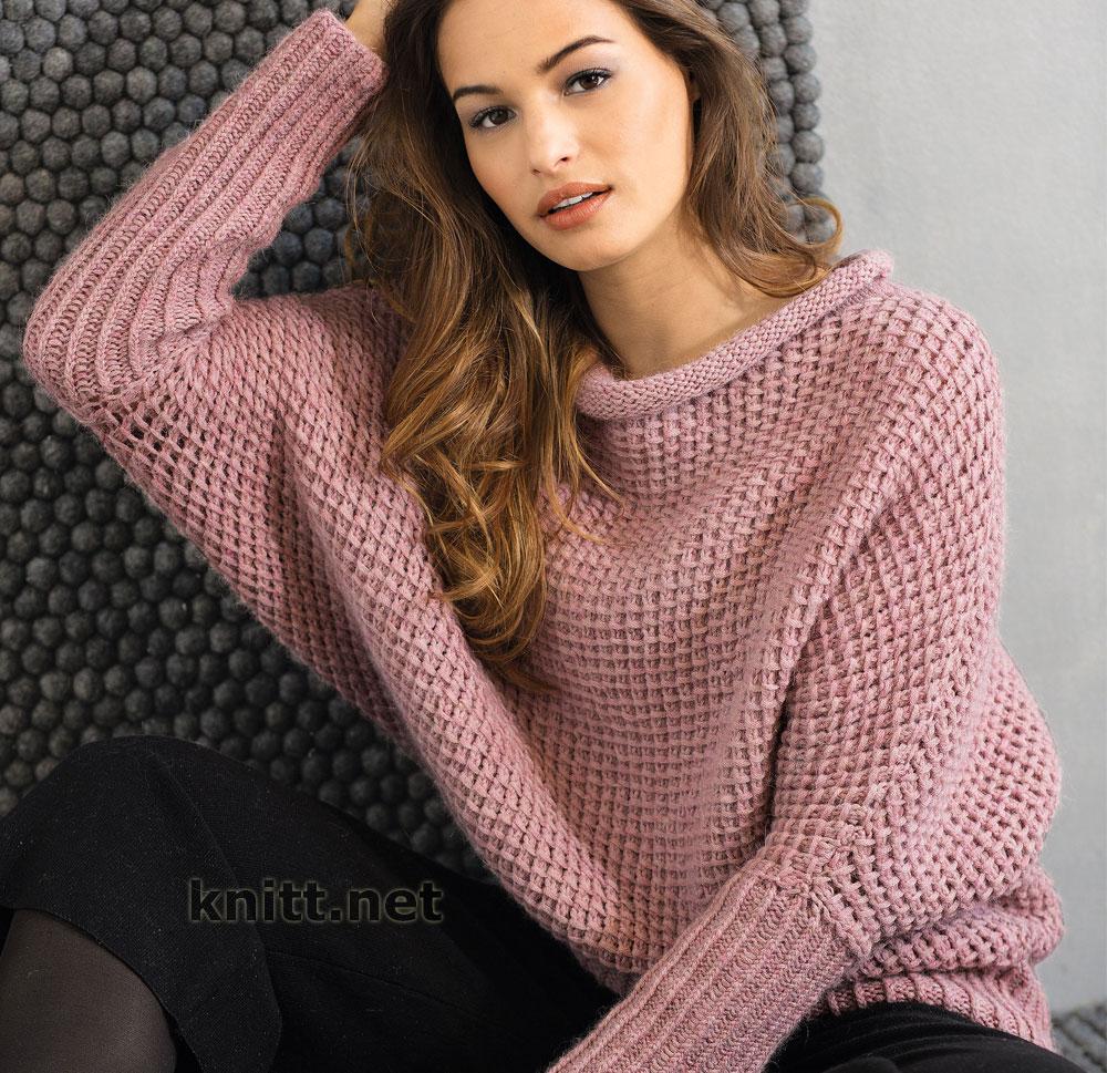 Вязаный свободный пуловер с рукавами