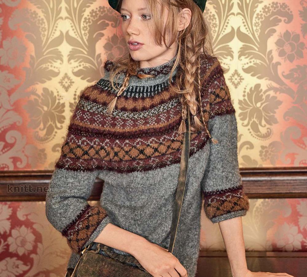Пуловер с круглой жаккардовой кокеткой