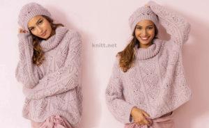 Широкий вязаный спицами свитер