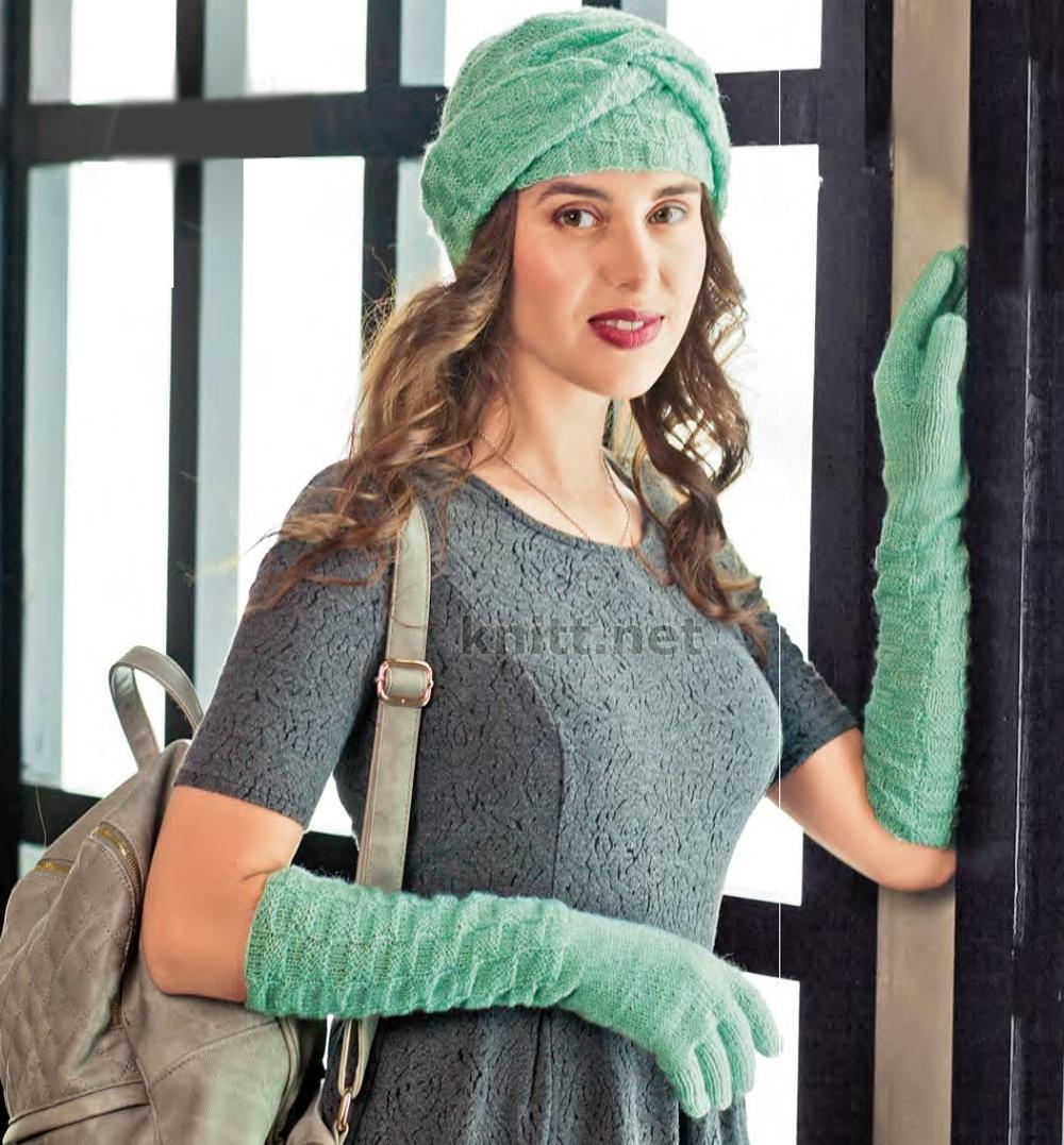 Вязаная шапка чалма и перчатки