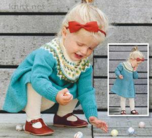 Вязаное детское платье с жаккардовым узором