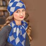 Вязаные шапка и шарф в технике энтрелак