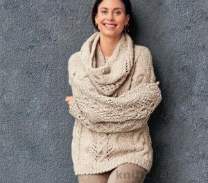Вязаный комплект шарф снуд и пуловер