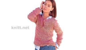 Вязаный меланжевый пуловер