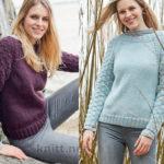Вязаный пуловер реглан с ажурным декором