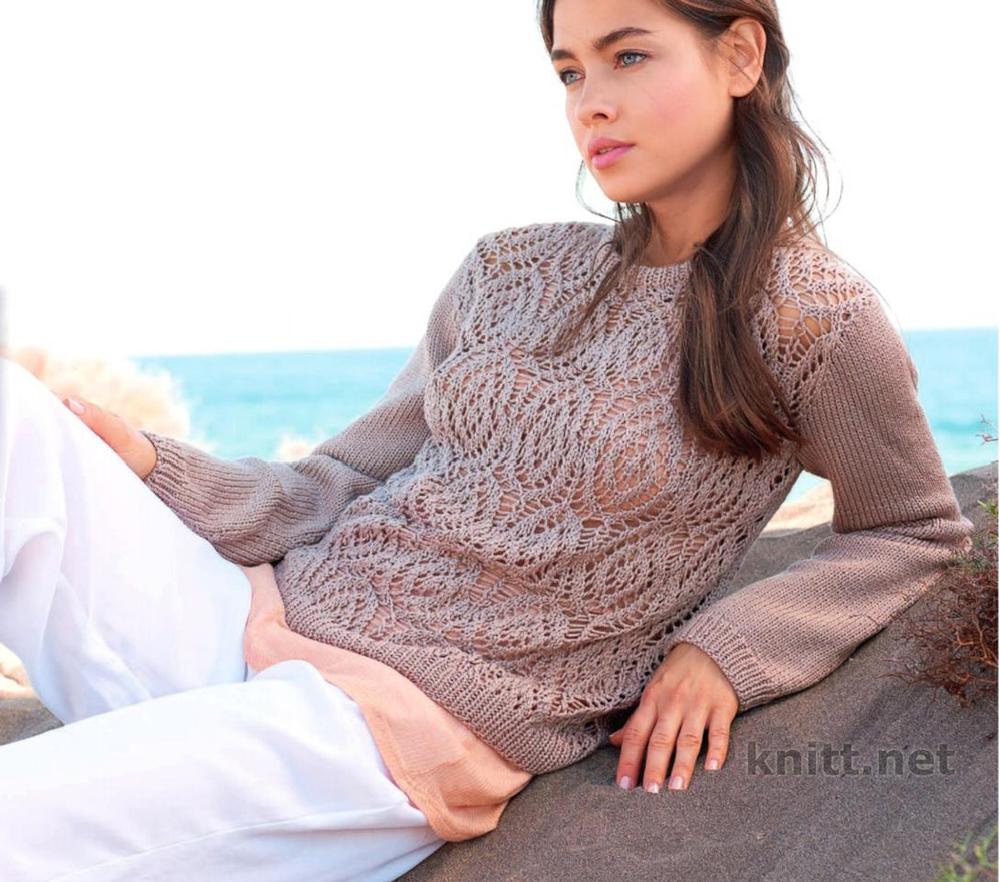 Вязаный пуловер с ажурным передом и спинкой