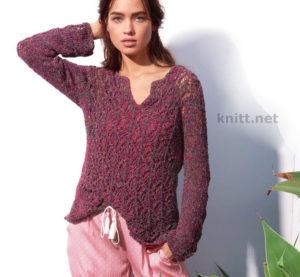 Вязаный пуловер с ажурным узором ромбы