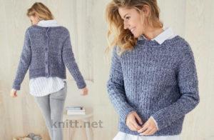 Вязаный пуловер с пуговицами на спине