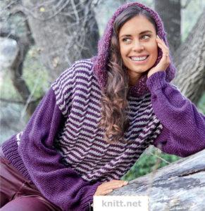 Вязаный пуловер в полоску с капюшоном