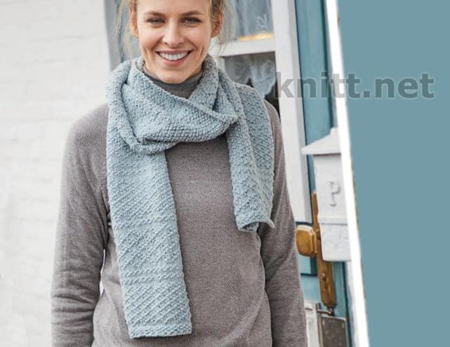 Вязаный шарф с теневым узором