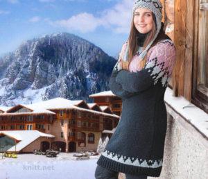 Вязаный удлиненный пуловер с жаккардовым узором