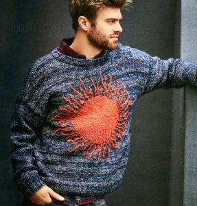 Мужской пуловер с солнцем