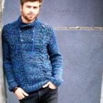 Мужской пуловер с узорами из кос