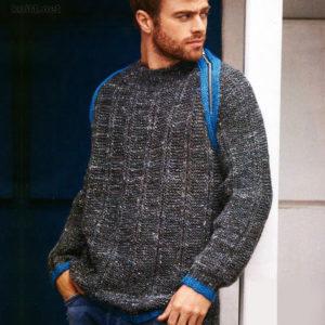 Пуловер для мужчины с бирюзовыми вставками
