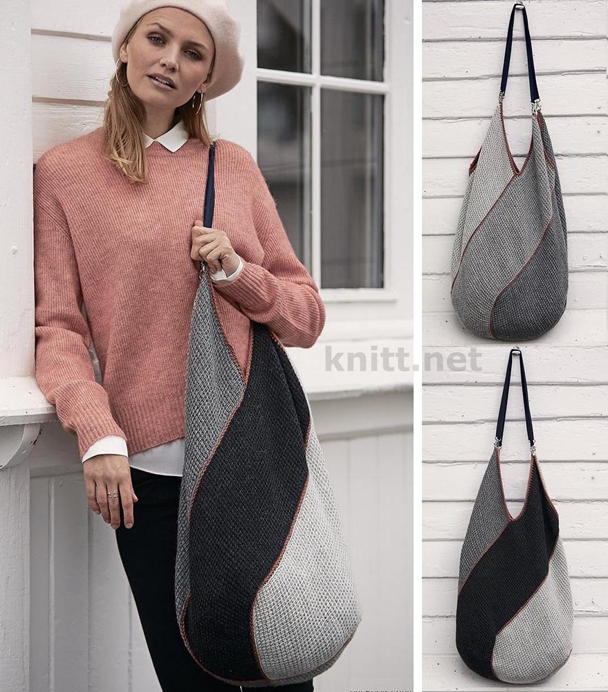 Вязаная сумка из прямоугольных мотивов