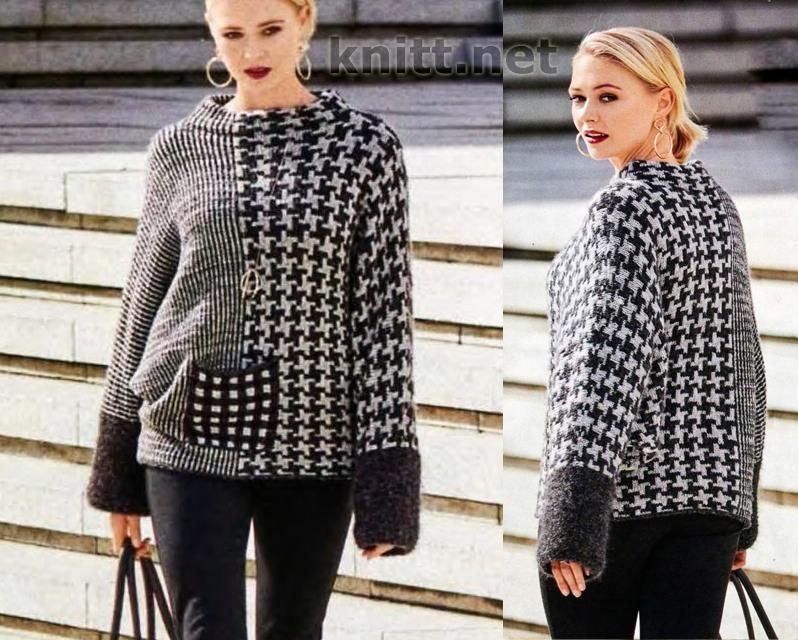 Вязание черно белого женского пуловера