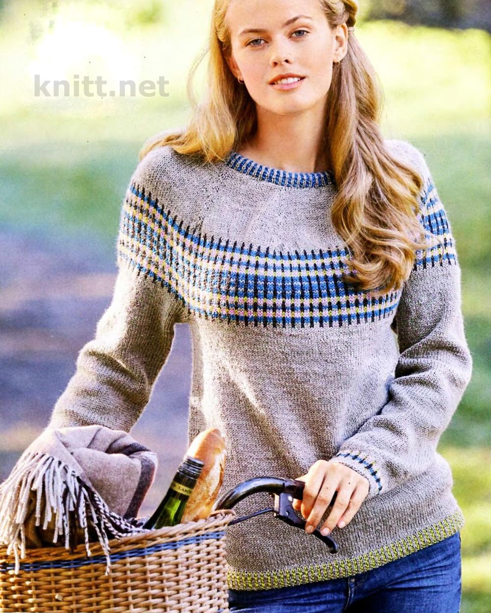 Вязание классического пуловера с круглой кокеткой