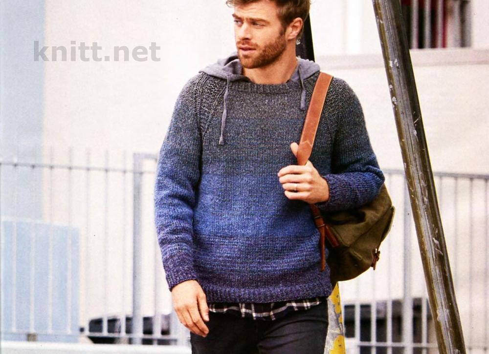 Вязание мужского пуловера реглан