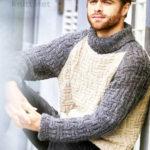 Вязание мужского пуловера с геометрическим узором