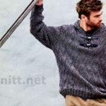 Вязание мужского пуловера с капюшоном