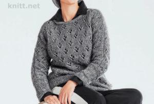 Вязание серого ажурного пуловера