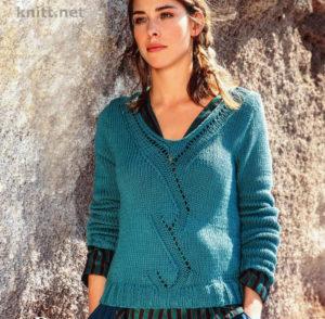 Вязание женского пуловера с V вырезом