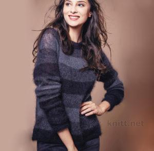 Вязание женского пуловера в полоску из мохера