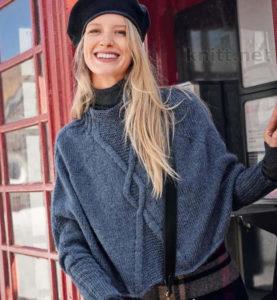 Вязаный пуловер пончо с узором