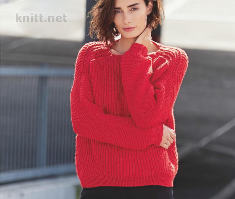 Алый вязаный пуловер
