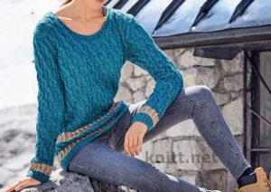 Пуловер с косами с меланжевым эффектом
