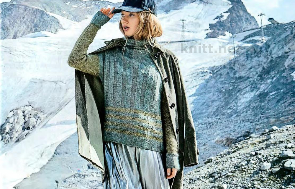 Вязание меланжевого пуловера с рельефными полосками
