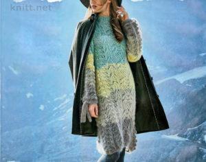 Вязаное женское платье в полоску