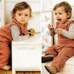 Вязаный детский комбинезон и съемный воротник