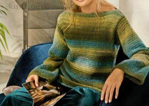 Вязаный крючком пуловер с переходом цвета