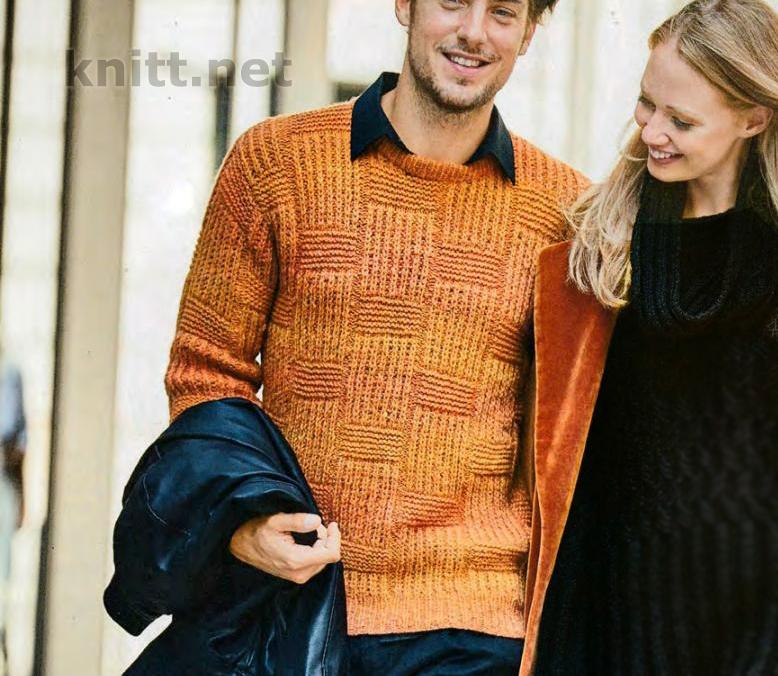 Вязаный мужской пуловер со структурным узором