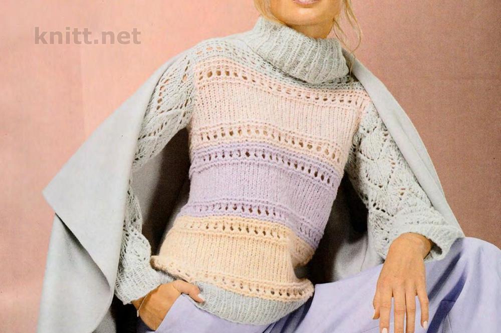 Вязаный полосатый пуловер