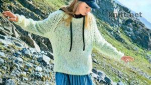 Вязаный пуловер реглан из пушистой пряжи