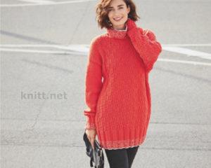 Вязаный пуловер с шахматным узором